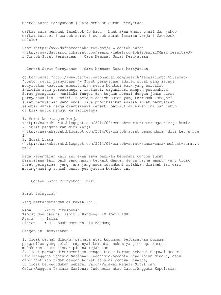 Contoh Surat Pernyataan Cara Membuat Surat Pernyataan Contoh Surat Daftar Facebook Buat Email Gmail Dan Yahoo