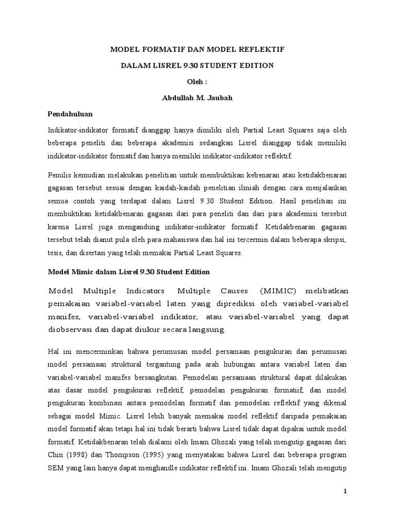 model formatif dan reflektif akaike information criterion chi rh scribd com
