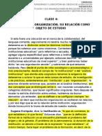 Clase 4- Institución y organización- Su relacion como objeto de estudio