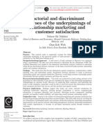 Factorial and Discriminant Analyses of the Underpinnings Ofrelationship Marketing and Customer Satisfaction