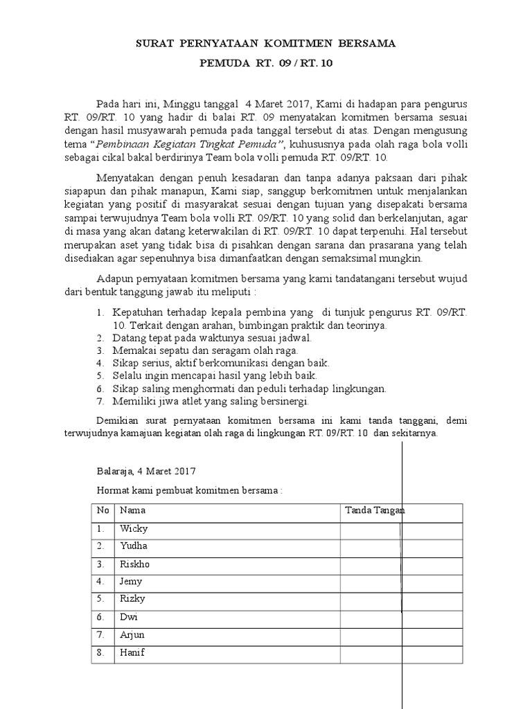 Surat Pernyataan Komitmen Bersamadocx