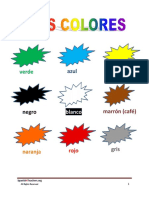 Lista Vocabulario Colores Vocab List Colors Spanish