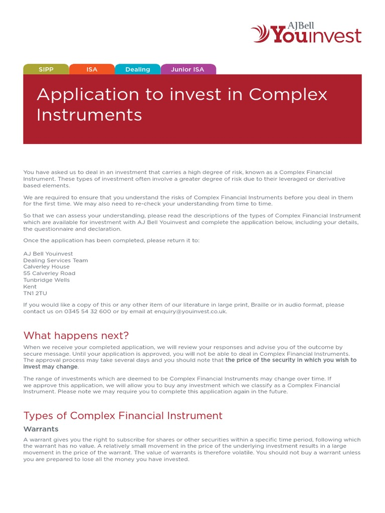 AJBYI Application to Invest in Complex Instruments