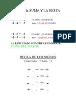 diferencias entre Reglas de La Suma y La Resta  y regla de los signos para números Enteros
