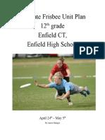 practicum ultimate frisbee unit plan