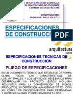 Especificaciones de  Construcción