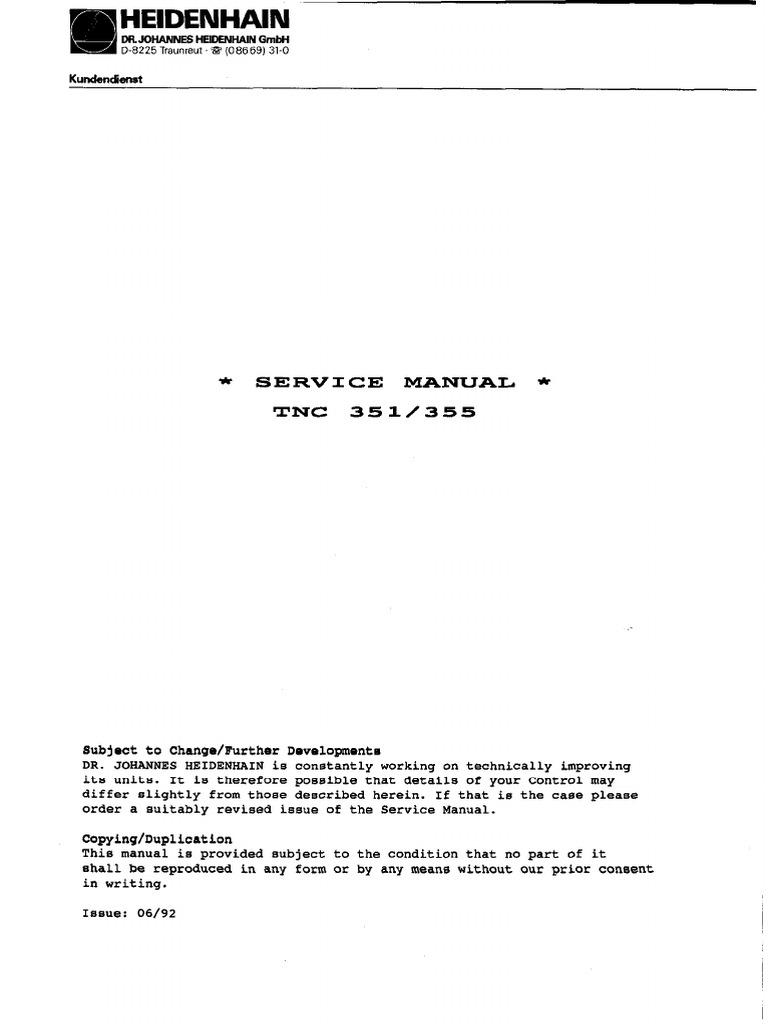 Heidenhain TNC 351- 355 Service Manual.pdf | Servomechanism | Switch