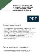 Standardul Internaţional de Audit 540 Auditarea Estimărilor Contabile