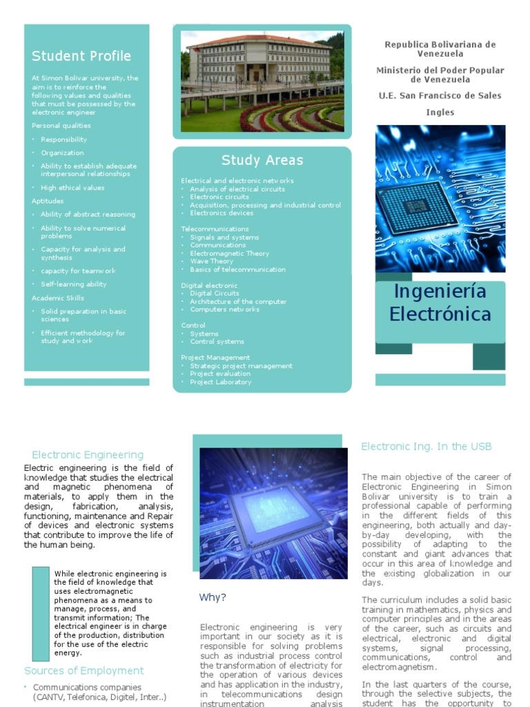 Triptico Ingles Electronic Engineering Electronics Training Circuits And Design Courses Electric