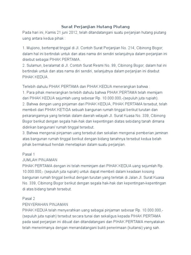 Contoh Surat Pernyataan Hutang Simak Gambar Berikut