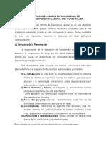 Consideraciones Para La Exposición de Informe de Experiencia Laboral