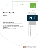 Secondary Progression Test - Stage 9 Science Paper 2