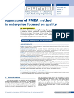 Application of FMEA Method in Enterprise Focused on Quality Ok