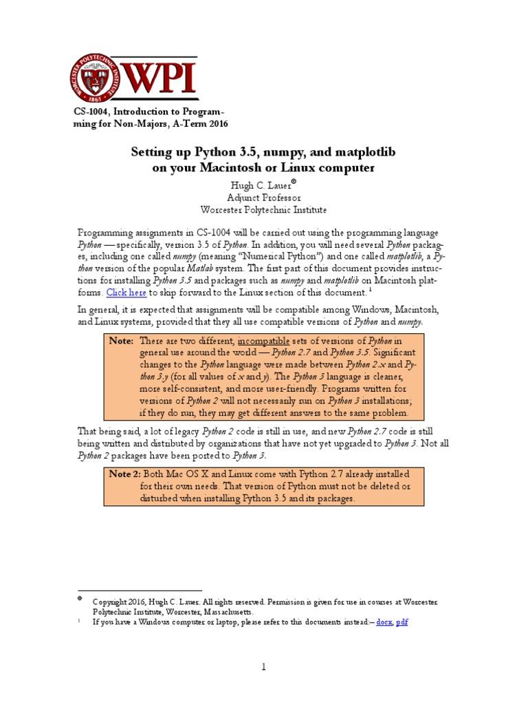 SettingUpPython Macintosh Linux   Installation (Computer Programs)   Linux