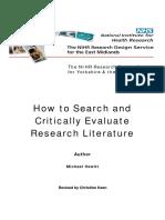 6 Critically Evaluate Research Literature 2009v2
