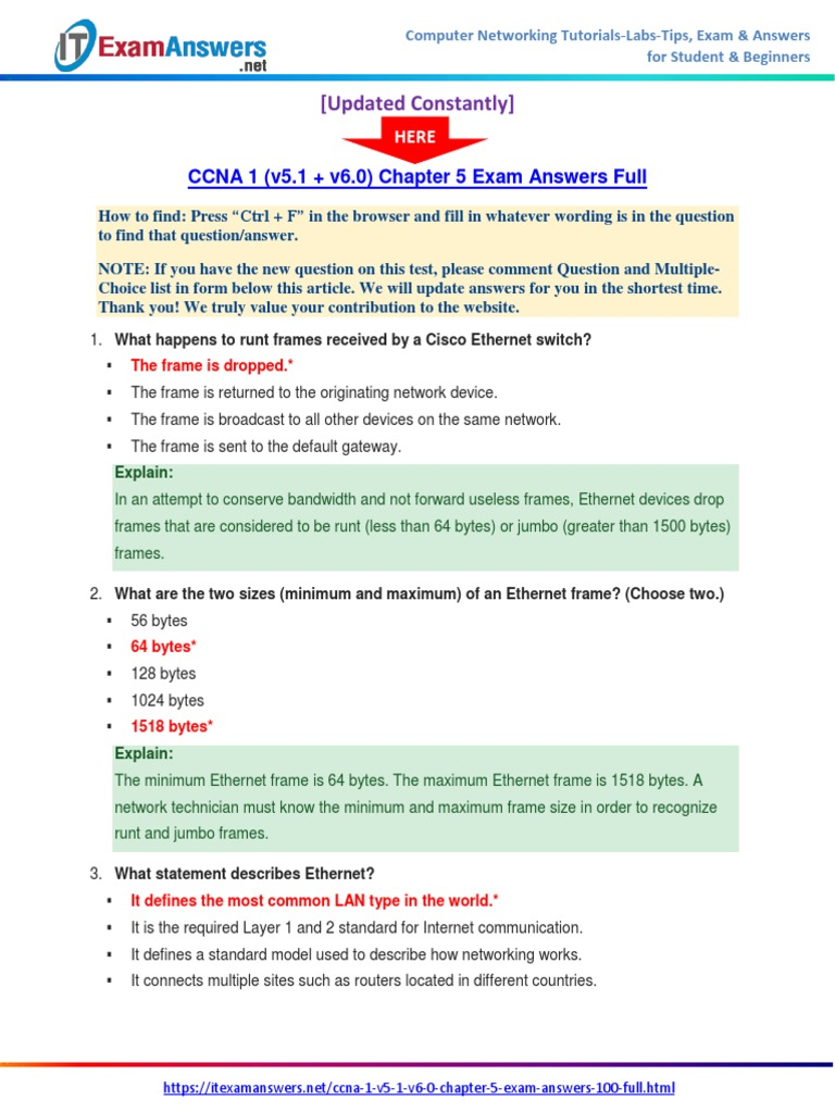 CCNA 1 (v5.1 + v6.0) Chapter 5 Exam Answers 2017 – 100% Full ...
