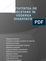 Activitatea de Cercetare În Vederea Disertației