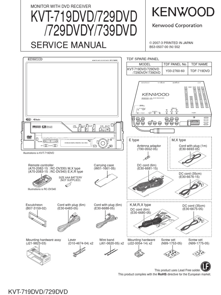 Kenwood Kvt 719dvd Kvt 729dvd Kvt 729dvdy Ktv 739dvd Gear Electrical Connector