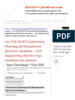 100 TOP MOST Construction Planning and Management Interview Questions - Civil Engineering Objective Type Questions and Answers Construction Planning and Management Questions Answers