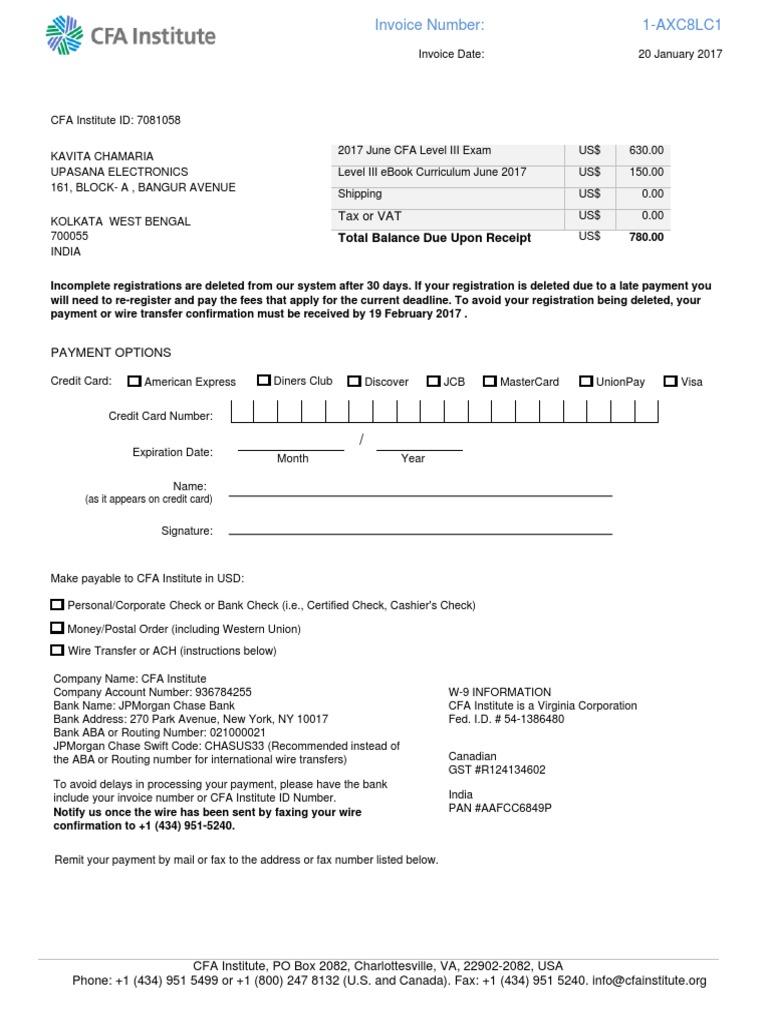 CFA Program Invoice | Invoice | Wire Transfer