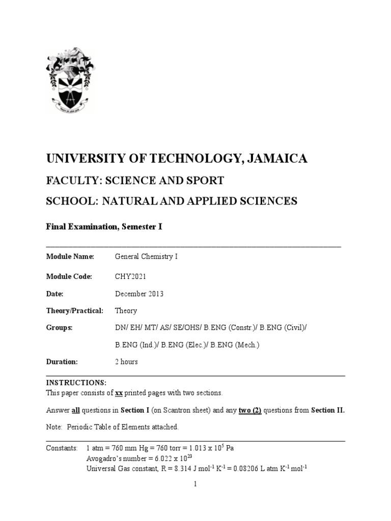 General Chemistry I Final Exam Semester 1 2013-14 | Redox ...