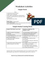 iep worksheet activities