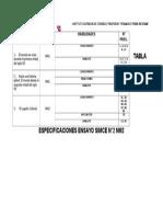 TABLA ESPECIFICACIONES ENSAYO SIMCE N°1