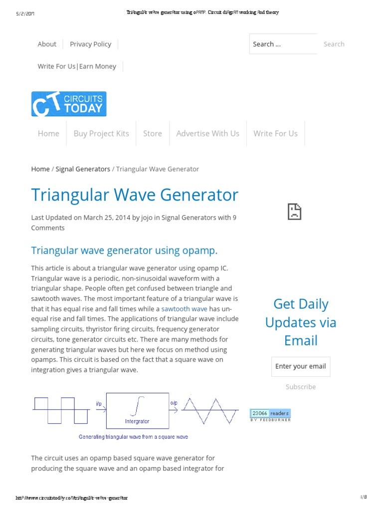 Triangular Wave Generator Using Opamp Operational Amplifier 555 Triangle Waveform Circuit Electronic Circuits