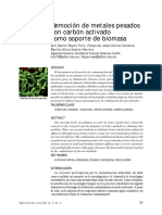 Remocion de Metales Pesados Con Carbon Activado Como Soporte de Biomasa