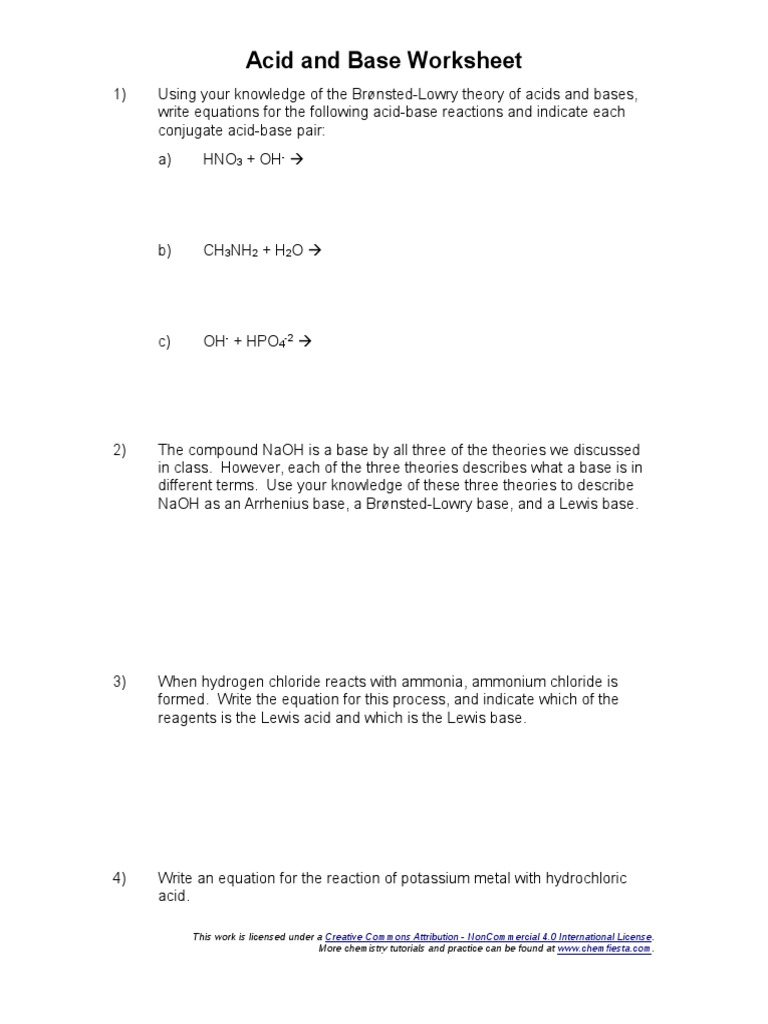 worksheet Bronsted Lowry Acids And Bases Worksheet Answers acid and base worksheet molecular physics