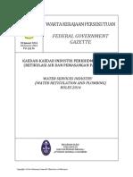Pua_20140130_P.U. (a) 36-Kaedah-kaedah Industri Perkhidmatan Air (Retikulasi Dan Pemasangan Paip) 2014