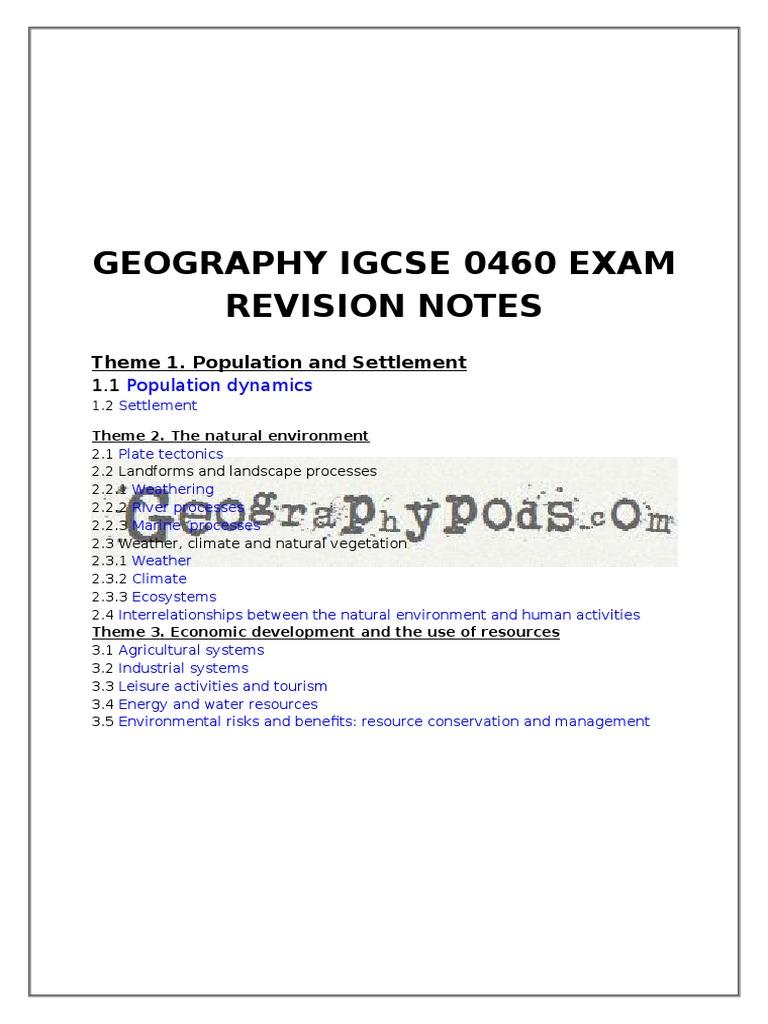 Igcse Geography Notes Pdf