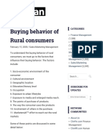 Buying Behavior of Rural Consumers