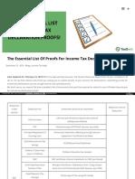 Income tax proof list