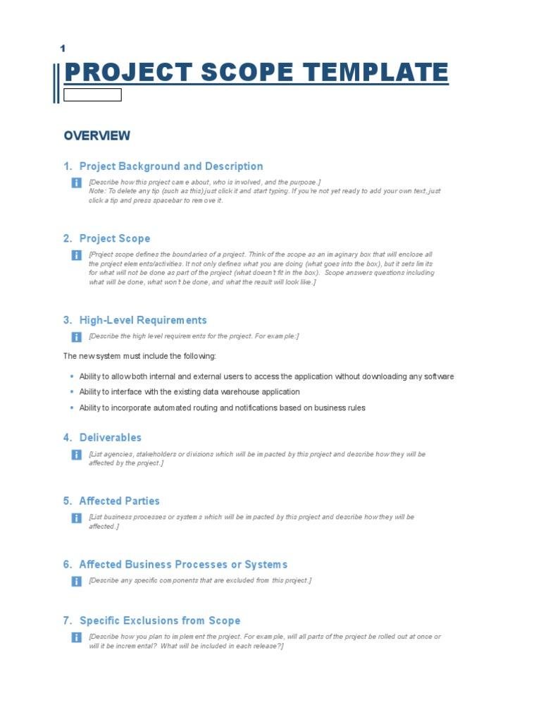 project scope template Business Process – Project Scope Template