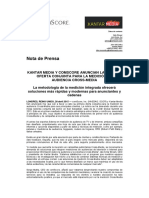 Kantar Media y ComScore Anuncian La Primera Oferta Conjunta Para La Medición de Audiencia Cross Media