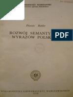 Danuta Buttler, Rozwój Semantyczny Wyrazów Polskich