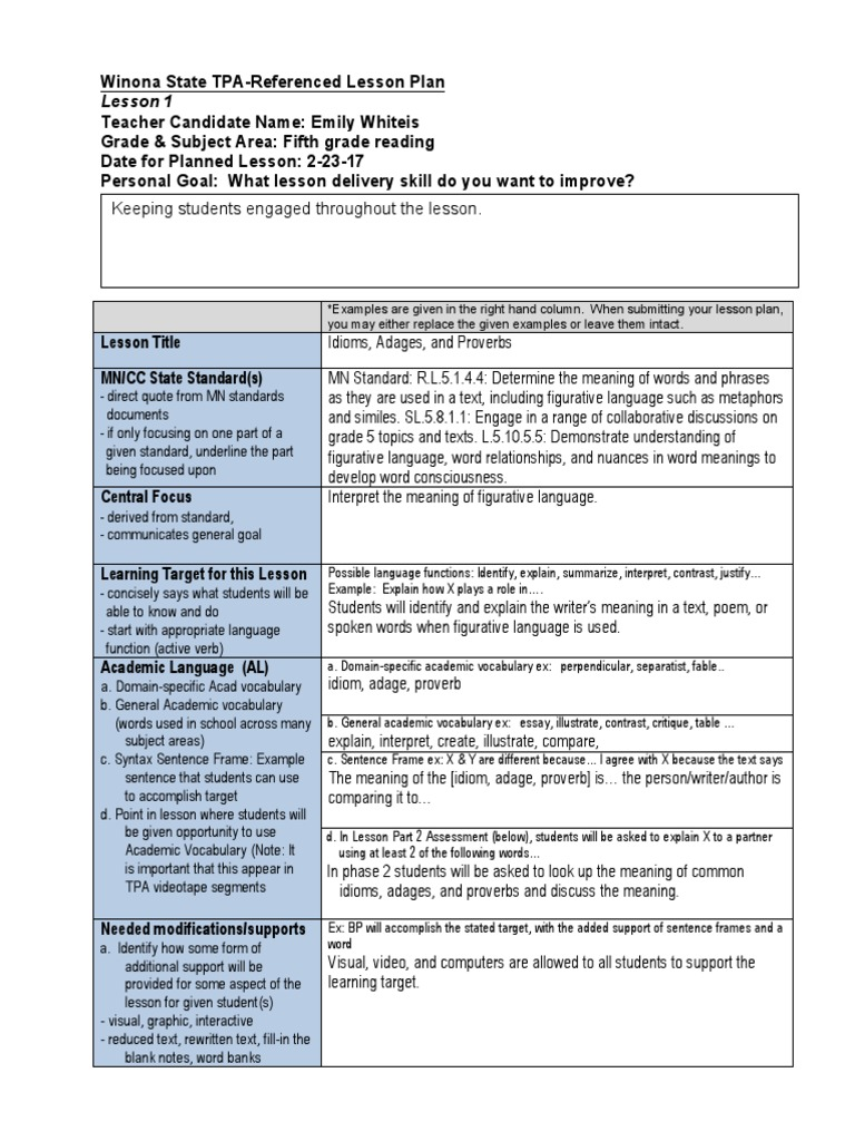 combined edtpa lesson plans-e w | Educational Assessment | Lesson Plan