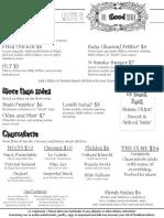 The Good Silver DC menu