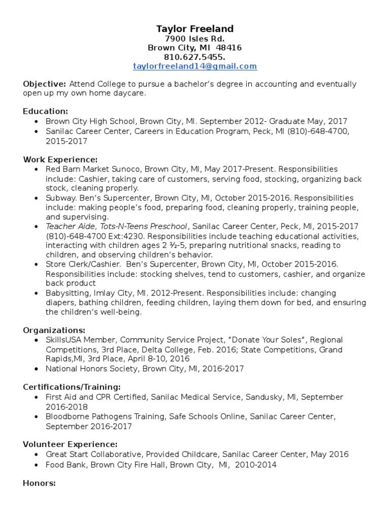 Resume preschool further education xflitez Gallery