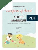 assignment 3 award certificate