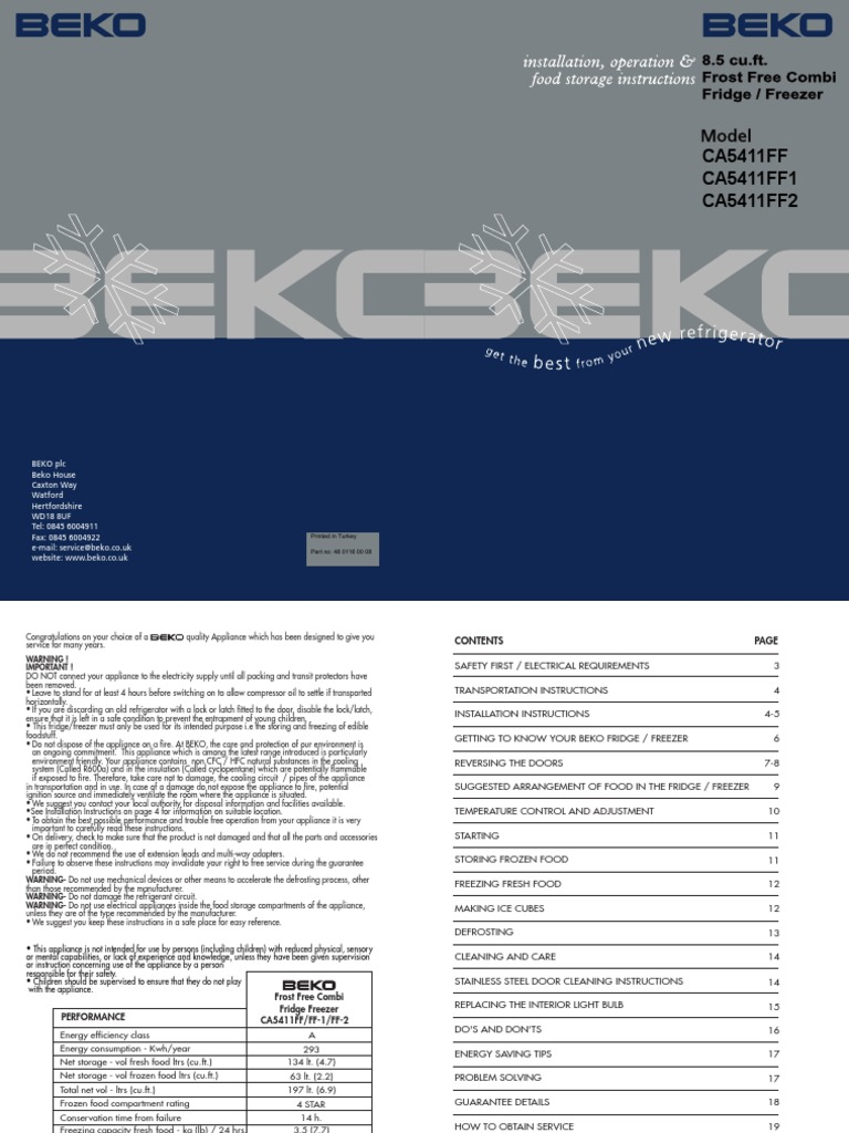Beko Ca5411ff En Refrigerator Ac Power Plugs And Sockets Washing Machine Wiring Diagram