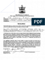 David Amos Legislature Ban New Brunswick