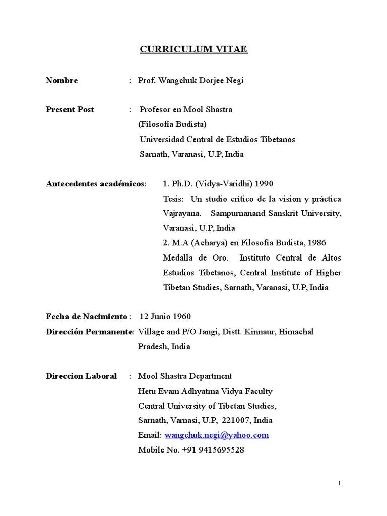 CurriDrWangchukEspañol.doc | Vajrayana | Tibetan Buddhism