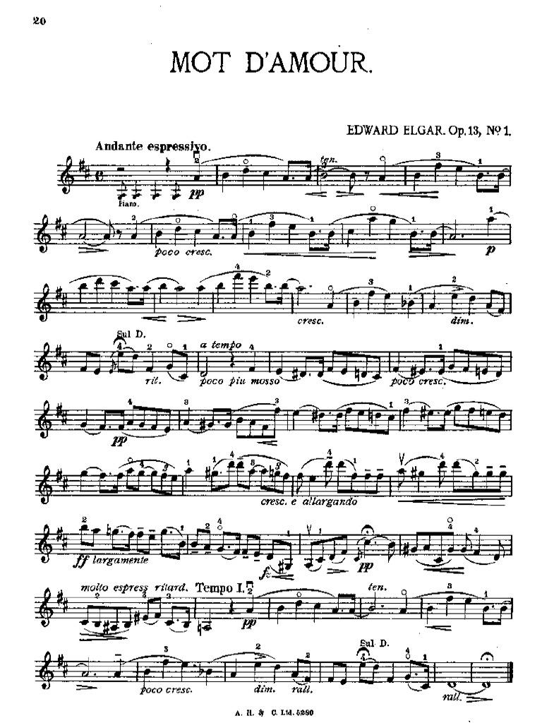 Elgar Mot D Amour V P Cmplt Musical Forms Musical Notation