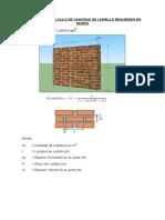 Ejercicios de Cálculo de Cantidad de Ladrillo Requerido en Muros