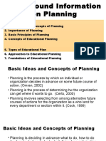 Report on Planning