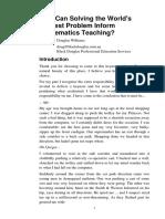 How Can Solving the World's Hardest Problem Inform Mathematics Teaching