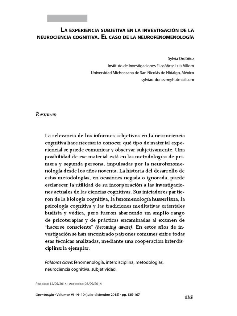La Experiencia Subjetiva en La Investigación de La Neurociencia ...