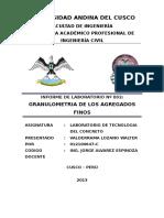 Informe para ensayo de granulometría